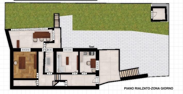 02_Planimetria 3D CAS83 piano ammezzato zona giorno